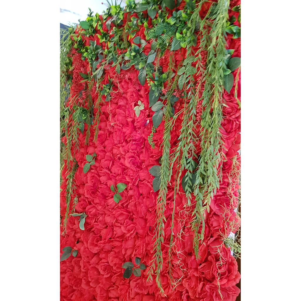 Red flower wall with greenery for Rental