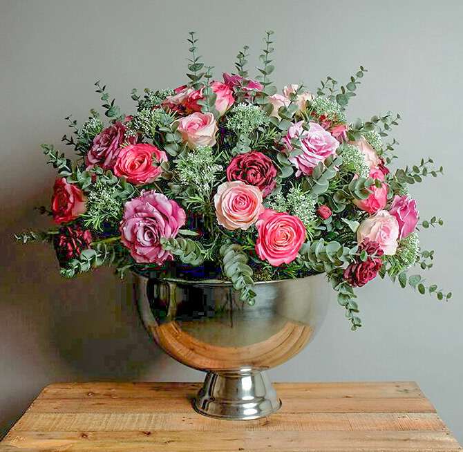 Classic Rose Arrangement in  Silver Bowl